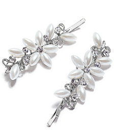 I.N.C. Silver-Tone Pearl Flower Bobby Pins, Set of 2, Created for Macy's