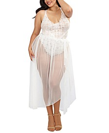 Plus Size Mosaic Lace Teddy & Sheer Skirt 2pc Set