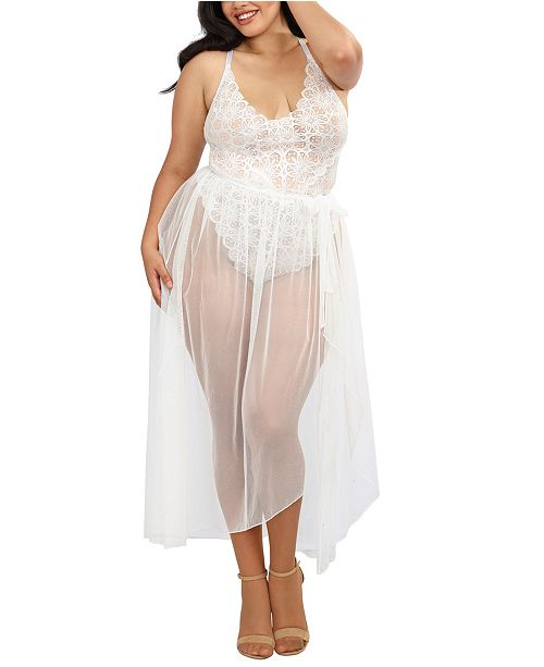 Dreamgirl Plus Size Mosaic Lace Teddy & Sheer Skirt 2pc Set