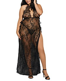 Dreamgirl Plus Size Toga Style Lace Gown