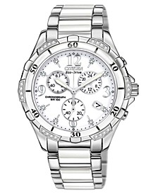 Women's Chronograph Eco-Drive Diamond Accent Stainless Steel and White Ceramic Bracelet Watch 40mm FB1230-50A