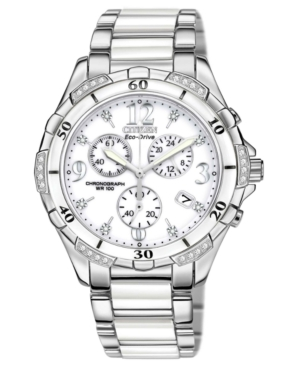 Citizen Women's Chronograph Eco-Drive Diamond Accent Stainless Steel and White Ceramic Bracelet Watch 40mm FB1230-50A