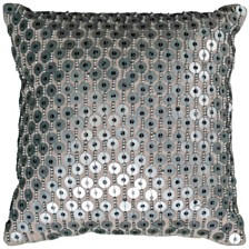 """Rizzy Home 12"""" x 12"""" Hand Beaded Pillow Cover"""