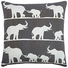 """Rizzy Home 18"""" x 18"""" Elephant Pillow Cover"""
