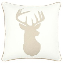 """Rizzy Home 18"""" x 18"""" Deer Head Pillow Cover"""