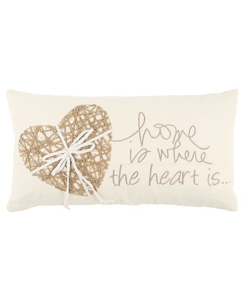 """Rizzy Home 11"""" x 21"""" Heart Pillow Cover"""