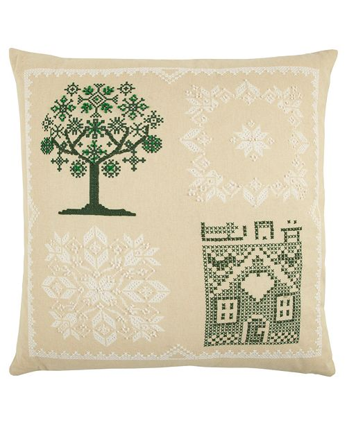 """Rizzy Home 20"""" x 20"""" Tree Pillow Cover"""