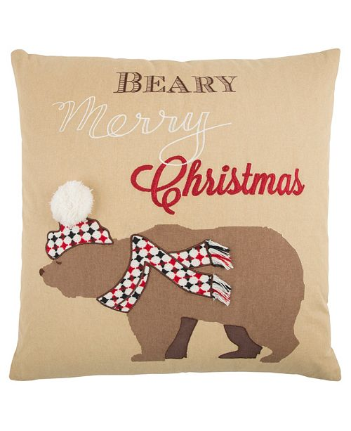 "Rizzy Home 20"" x 20"" Snow Bear Pillow Cover"
