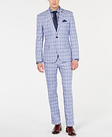 Men's Slim-Fit Windowpane Suit