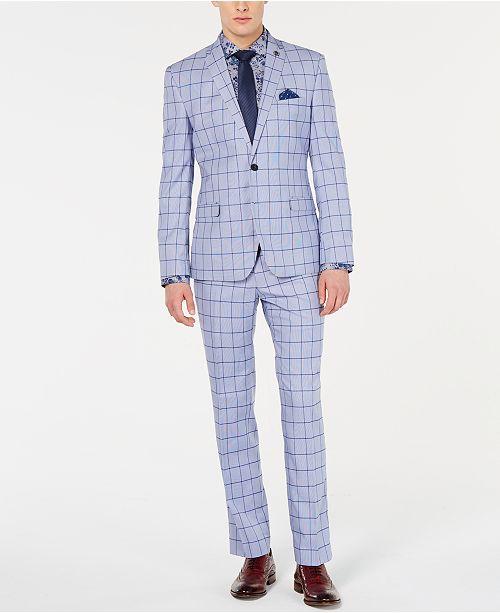 Nick Graham Men's Slim-Fit Windowpane Suit