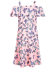 Epic Threads Big Girls Butterfly-Print Cold-Shoulder Dress, Created for Macy's