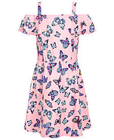 Epic Threads Super Soft Little Girls Butterfly-Print Cold-Shoulder Dress, Created for Macy's