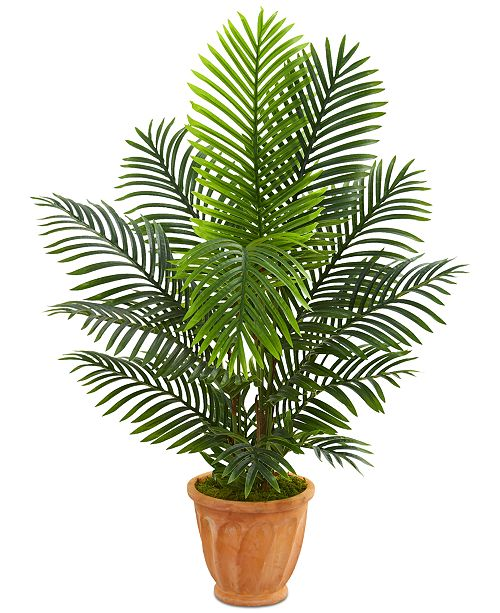 Nearly Natural 4.5' Paradise Palm Artificial Tree in Terracotta Planter