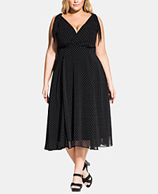 City Chic Trendy Plus Size Alika Spot Dress