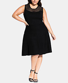 City Chic Trendy Plus Size Simply Skater Dress