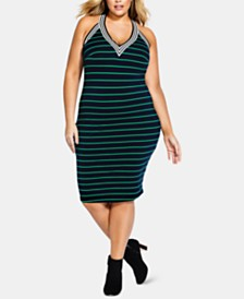 City Chic Trendy Plus Size Striped Midi Dress