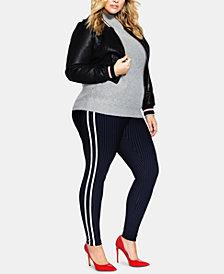 City Chic Trendy Plus Size Varsity-Stripe Pants