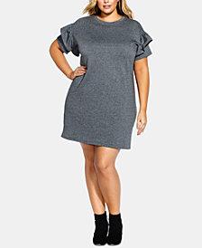 City Chic Trendy Plus Size Ruffle-Sleeve Tunic Dress