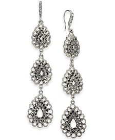 I.N.C. Silver-Tone Triple Drop Linear Earrings, Created for Macy's