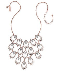 "I.N.C. Rose Gold-Tone Crystal & Imitation Pearl Openwork Statement Necklace, 16"" + 3"" extender, Created for Macy's"