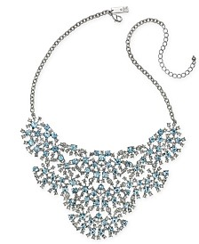 "I.N.C. Silver-Tone Crystal Statement Necklace, 16"" + 3"" Extender, Created for Macy's"