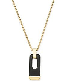 "Gold-Tone & Black Acrylic Large Link 34"" Pendant Necklace, Created for Macy's"