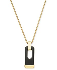 "Alfani Gold-Tone & Black Acrylic Large Link 34"" Pendant Necklace, Created for Macy's"