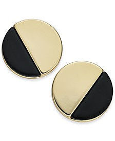 Gold-Tone & Black Acrylic Round Button Earrings, Created for Macy's