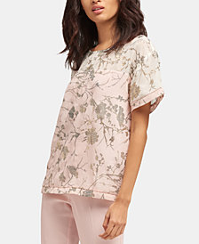 DKNY Floral-Print Short-Sleeve Top