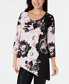 JM Collection Grommet-Shoulder Asymmetrical Tunic, Created for Macy's