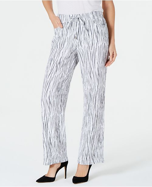JM Collection Printed Crinkle Drawstring Pants, Created for Macy's