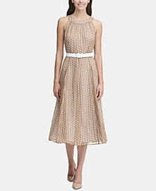 Duo Dot Chiffon Midi Dress with Belt