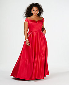 Say Yes to the Prom  Trendy Plus Size Embellished Off-The-Shoulder Gown, Created for Macy's