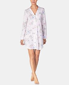 Lauren Ralph Lauren Notch-Collar Printed Knit Sleepshirt
