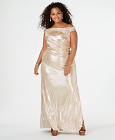 Calvin Klein Plus Size Metallic Off-The-Shoulder Gown