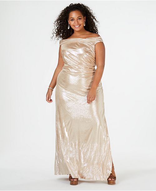 Calvin Klein Plus Size Metallic Off-The-Shoulder Gown ...