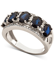 Sapphire (2-7/8 ct. t.w.) & Diamond (1/3 ct. t.w.) Ring in 14k White Gold (Also in Certified Ruby, Emerald & Tanzanite)