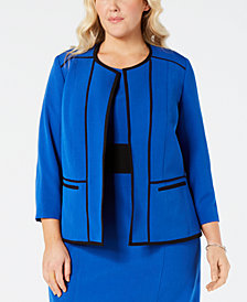 Kasper Plus Size Piped-Trim Open-Front Blazer