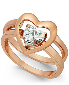 Charter Club Rose Gold-Tone Crystal Heart Double-Band Ring, Created for Macy's