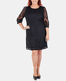 NY Collection Plus Size Lace-Overlay Shift Dress