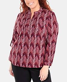 Plus Size Printed Band-Collar Shirt