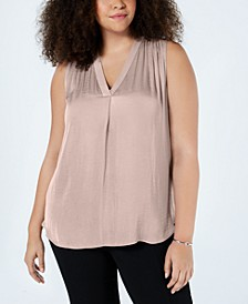 Plus Size V-Neck Sleeveless Blouse