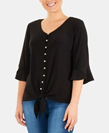 NY Collection Petite Tie-Front Shirt