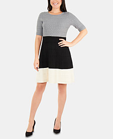 NY Collection Petite Colorblocked Sweater Dress