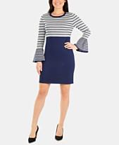 9e14395e01 NY Collection Petite Colorblocked Striped Sweater Dress