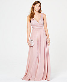 City Studios Juniors' Glitter Lace & Chiffon Gown