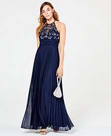 B Darlin Juniors' Rhinestone Pleated Gown, Created for Macy's