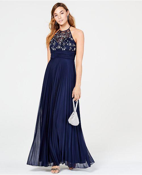 B Darlin Juniors' Rhinestone Pleated Gown, Created for Macy's