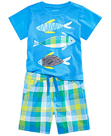 First Impressions Baby Boys Fish-Print T-Shirt & Plaid Shorts, Created for Macy's