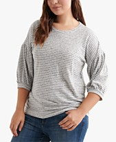 4be02b6372c775 Lucky Brand Plus Size Striped 3 4-Sleeve Top